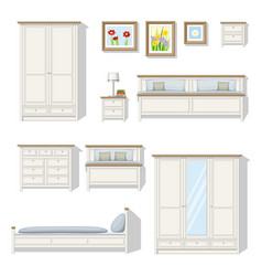 Set of classical bedroom furniture vector