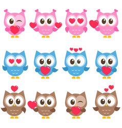 set of cute pink blue and brown owls with hearts vector image vector image