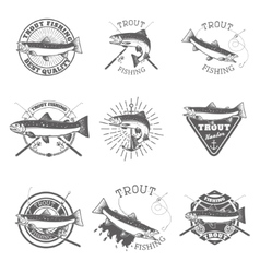 Set of trout fishing labels vector image