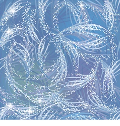 Snowy gleaming frozen pattern on blue window vector image