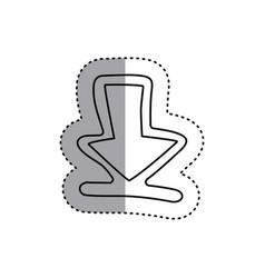 Sticker contour symbol arrow down icon vector