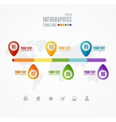 Timeline infographic map and pin vector
