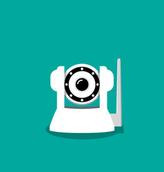 white ip camera in flat style vector image vector image