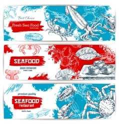 Fresh seafood and fish food sketch banners vector