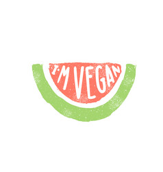 I am vegan watermelon piece silhouette vector