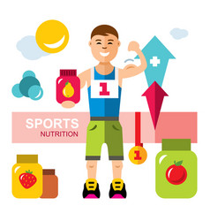 sports nutrition energy diet concept flat vector image