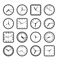 Digital wall clock faces time icons set vector