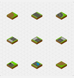 isometric way set of rotation asphalt subway and vector image