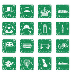 great britain icons set grunge vector image