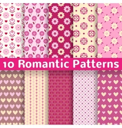 Romantic different seamless patterns tiling vector image