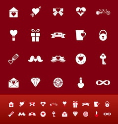 Love color icons on red background vector