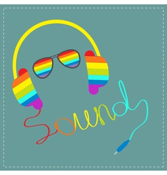 Rainbow headphones sound glasses vector