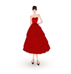 Fashion girl in red evening dress vector