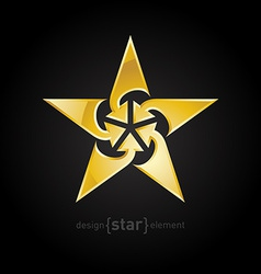 Abstract gold star with arrows design element on vector
