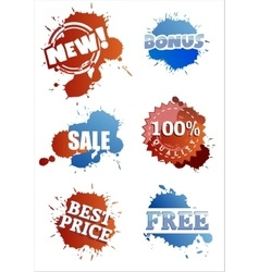 Set of splashy labels vector