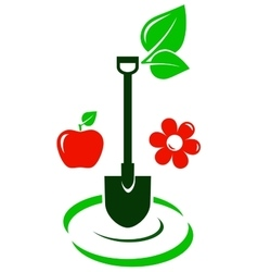 Garden icon with fruit and flower vector
