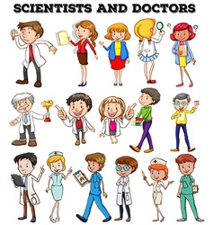 People working as scientists and doctors vector