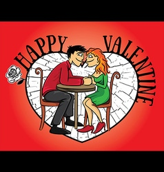 Dating young couple valentine postcard vector