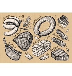 Meat food set sketch elements hand drawn vector