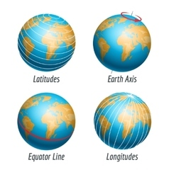 Latitude and longitude of earth globe vector