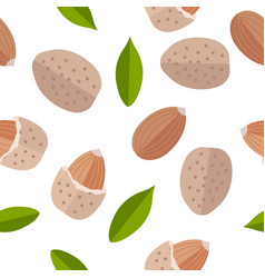 Almond nuts seamless pattern in flat design vector