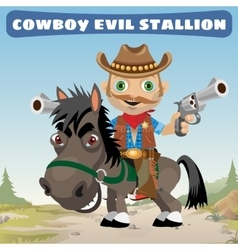 Armed cowboy for an evil stallion vector image vector image