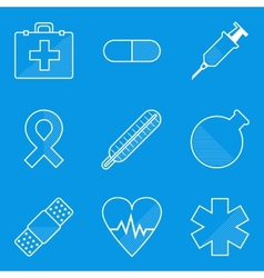 Blueprint icon set medical vector
