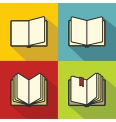 Book icons in flat line style vector image vector image