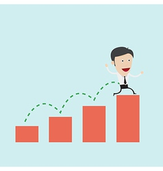Businessman jump over graph vector