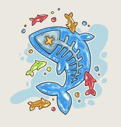 Cartoon jelly fish cartoon in comic vector