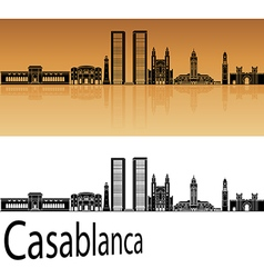 Casablanca skyline in orange vector