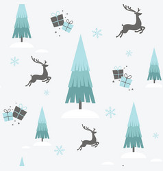 christmas reindeer winter seamless wallpaper vector image vector image
