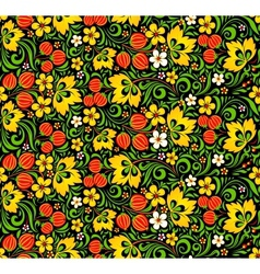 Colorful seamless pattern in hohloma style vector image vector image