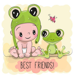 Cute cartoon baby and frogg vector