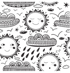 cute sun and clouds childish seamless pattern vector image