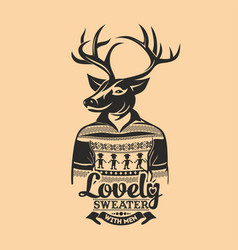 deer lovely sweater with men vector image