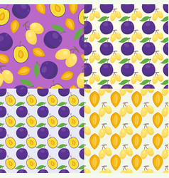 Floral seamless pattern with plums nature fruit vector