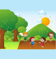 Four kids exercise in the park vector