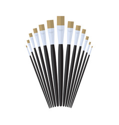 Glaze artist paint brush stationary flat design vector