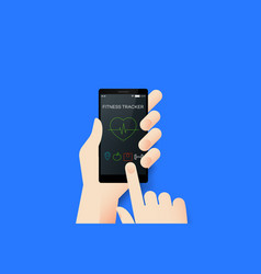 Hand holding smartphone with conceptual fitness vector