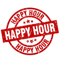 Happy hour round red grunge stamp vector