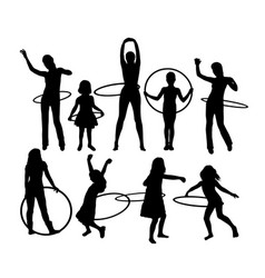 Happy hulahoop activity silhouettes vector