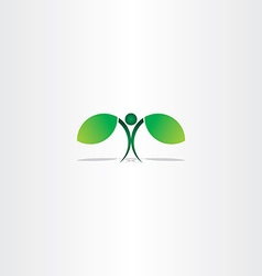 healthy green eco man plant leaf vector image
