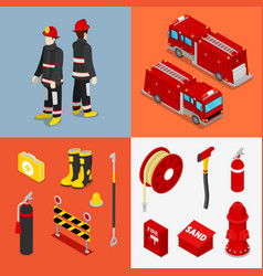 isometric fireman firefighter with tank truck vector image