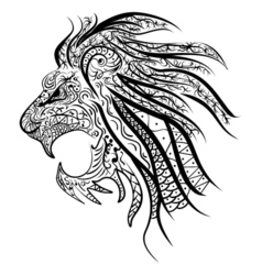 Lions head painted tribal ethnic ornament vector