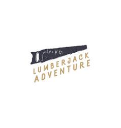 Lumberjack saw logo design typography elementsm vector