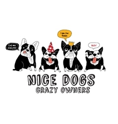 Pets French bulldog isolate white and fun sign vector image vector image