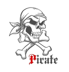 Pirate skull in bandana with crossbones sketch vector image