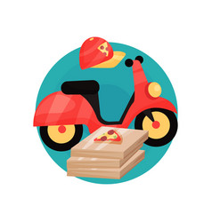 Pizza courier profession icon motobike cap and vector