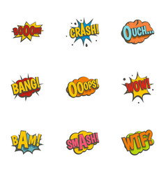 retro speech bubble icons set flat style vector image